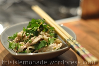 Oriental style chicken, coriander and sesame salad
