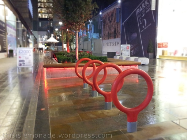 Red Bike Racks at Westfield E20 | this is lemonade