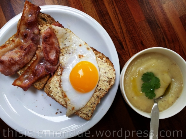 Bacon and duck egg on toast, served with celeriac soup - recipe coming up!